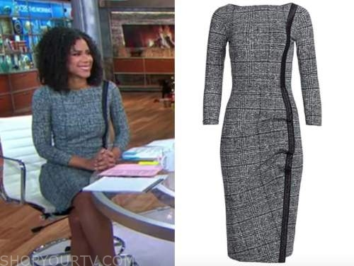 adriana diaz, cbs this morning, grey check sheath dress
