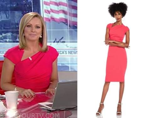 sandra smith, america's newsroom, coral pink asymmetric neck sheath dress