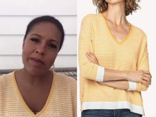 sheinelle jones, yellow striped sweater, the today show