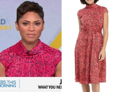 jericka duncan, cbs this morning, pink floral roll neck dress