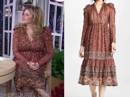 jenna bush hager, the today show, rust orange metallic midi dress
