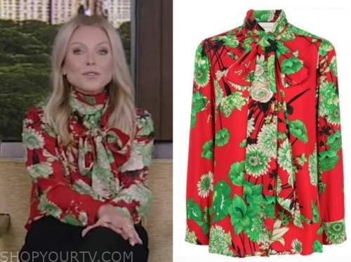 kelly ripa, live with kelly and ryan, red and green tie neck blouse