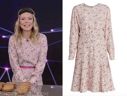 kelly ripa, live with kelly and ryan, pink floral long sleeve dress