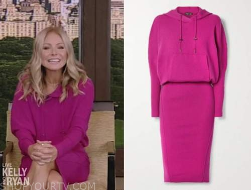 kelly ripa, pink hooded dress, live with kelly and ryan