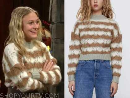 faith newman, alyvia alyn lind, the young and the restless, open knit sweater