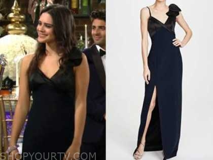 sasha calle, lola rosales, the young and the restless, black and navy bow gown, sharon and rey's wedding
