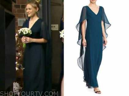 faith newman, alyvia alyn lind, rey and sharon's wedding, teal bridesmaid's dress, the young and the restless