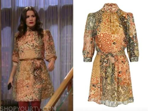 chelsea newman, melissa claire egan, the young and the restless, orange mock neck printed dress