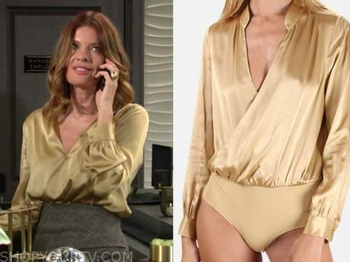 phyllis newman, michelle stafford, yellow satin bodysuit blouse, the young and the restless