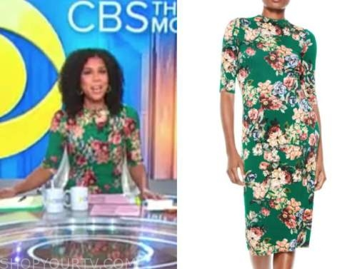 adriana diaz, cbs this morning, green floral dress