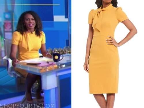 janai norman, good morning america, yellow tie neck dress