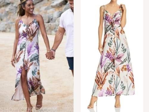 tayshia adams, white floral maxi dress, the bachelorette