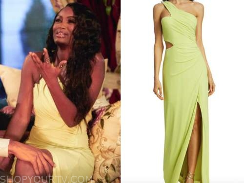 Khaylah Epps, lime yellow one-shoulder gown, the bachelor