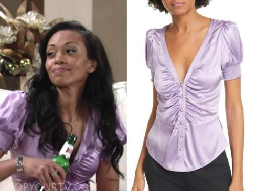 mishael morgan, amanda sinclair, the young and the restless, purple silk satin top