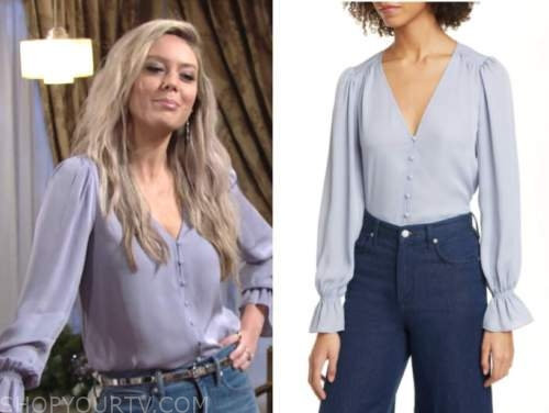 abby newman, melissa ordway, blue button front blouse, the young and the restless