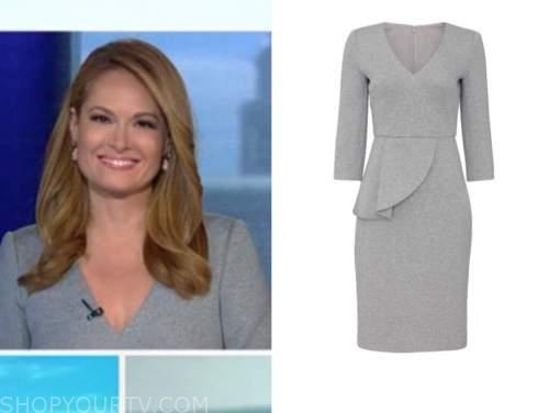 gillian turner, outnumbered, grey peplum sheath dress