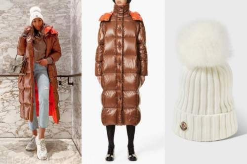 tayshia adams, the bachelorette, brown puffer coat, white beanie hat