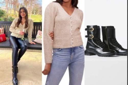 hannah ann sluss, the bachelor, beige cardigan sweater, black combat boots
