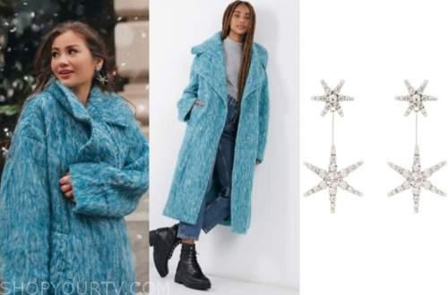 caila quinn, the bachelor, blue coat, star earrings