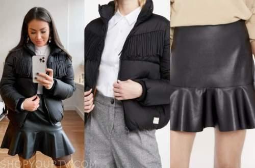 caila quinn, the bachelor, black fringe puffer jacket, black leather skirt