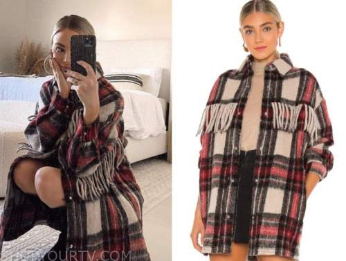 amanda stanton, the bachelor, red plaid flannel fringe shacket