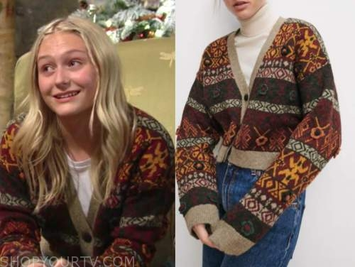 faith newman, alyvia alyn lind, the young and the restless, printed cardigan sweater