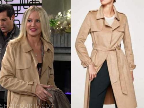 sharon newman, sharon case, the young and the restless, beige suede trench coat