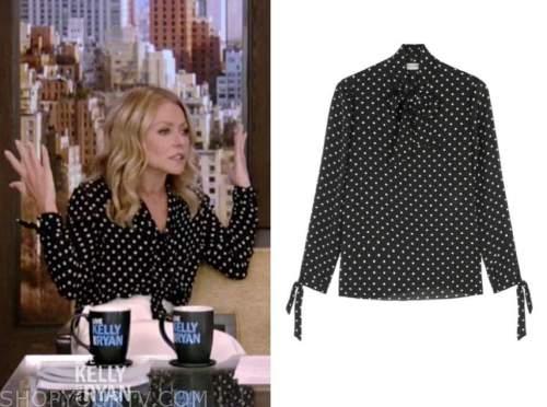 kelly ripa, live with kelly and ryan, black polka dot blouse