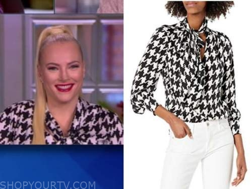 meghan mccain, the view, black and white houndstooth tie neck blouse