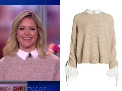 the view, sara haines, beige and white lace collar sweater
