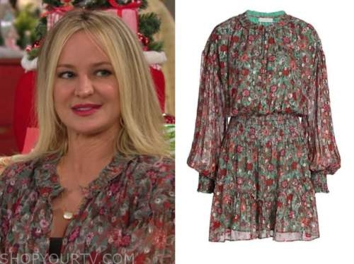 sharon newman, sharon case, the young and the restless, green floral dress