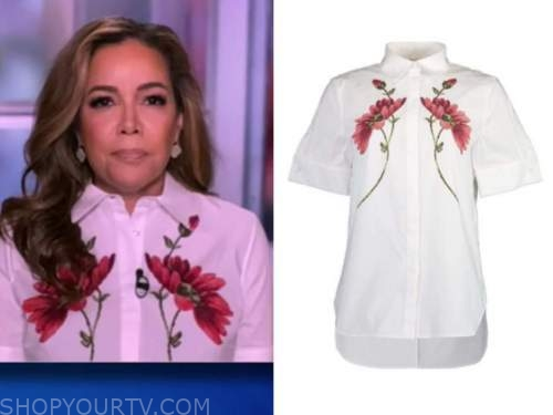 sunny hostin, the view, white floral embroidered shirt