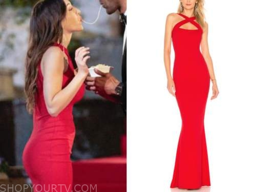 alana milne, red keyhole halter gown, dress, night one, the bachelor