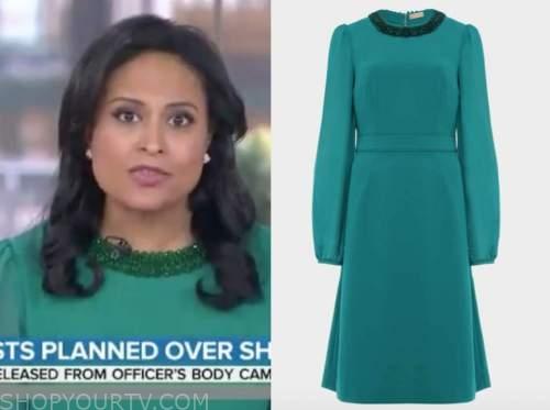 kristen welker, the today show, teal green embellished dress