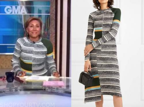 robin roberts, good morning america, striped knit top and skirt