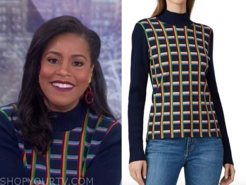 sheinelle jones, the today show, blue plaid turtleneck sweater