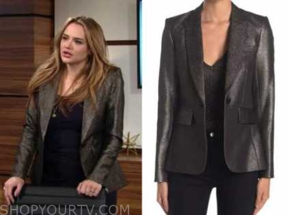 summer newman, hunter king, the young and the restless, bronze metallic blazer