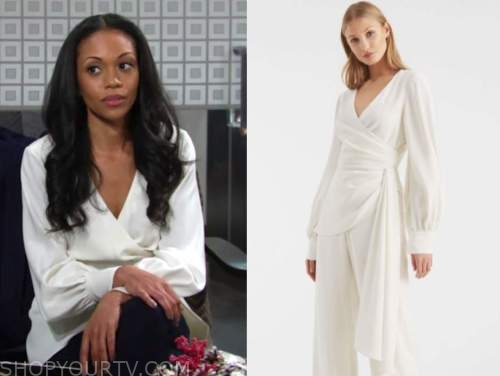 amanda sinclair, mishael morgan, the young and the restless, ivory wrap blouse