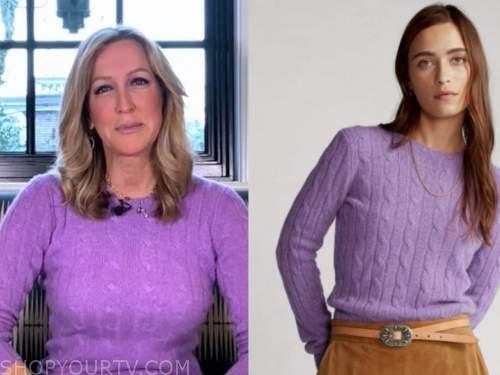 good morning america, lara spencer, purple cable knit sweater