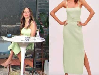 lilliana vazquez, e! news, daily pop, green ribbed knit midi dress,