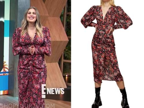 carissa culiner, E! news, daily pop, red and black floral ruched midi dress