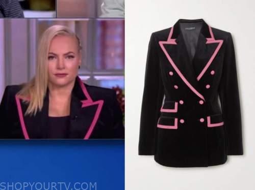 meghan mccain, the view, black and pink velvet blazer
