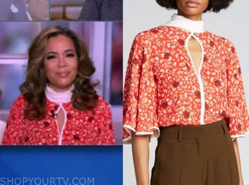 sunny hostin, the view, red and white mock neck floral top