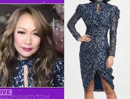 carrie ann inaba, the talk, blue metallic choker dress, birthday