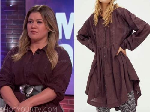 kelly clarkson, brown shirt dress, the kelly clarkson show