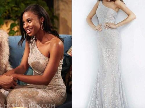 Kristin Hopkins, the bachelor, lace silver one-shoulder gown, dress, night one