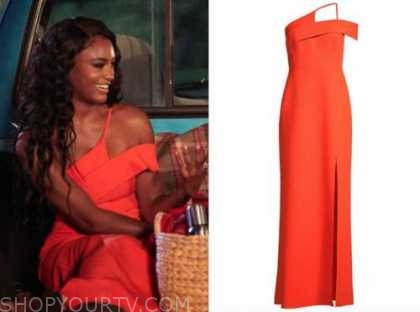 Khaylah Epps, the bachelor, red orange asymmetric gown, dress, night one