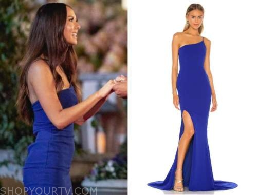the bachelor, abigail heringer, blue one-shoulder gown, night one