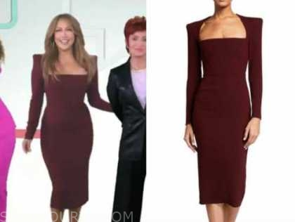 carrie ann inaba, the talk, burgundy square neck sheath midi dress