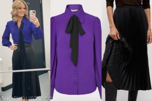 good morning britain, charlotte hawkins, purple tie neck blouse, black pleated midi skirt